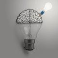 Light bulb with hand drawn brain as creative idea
