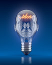 Light bulb head with word idea d concept Royalty Free Stock Photos
