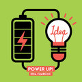 Light bulb idea charging battery power vector Stock Photography