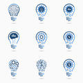 Light bulb idea icon set Royalty Free Stock Photo