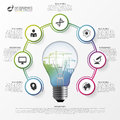 Light bulb infographic. Template for circle diagram. Vector