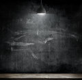 Light bulb lamp on blackboard background Royalty Free Stock Photo