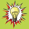 Light bulb lamp pop art style vector Royalty Free Stock Photo