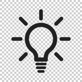 Light bulb line icon vector. Electric lamp in flat style. Idea s Royalty Free Stock Photo