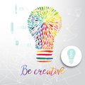 Light bulb made of watercolor, lightbulb and creative icons, watercolor creative concept. Vector concept - creativity and idea. Le