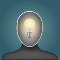 Light bulb in a man head Royalty Free Stock Photo