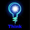 Light bulb means think about it and thinking indicating contemplate consideration Stock Photo