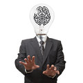 Light bulb and pixel brain sign Royalty Free Stock Photography