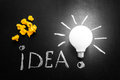 Light bulb with rays on the black chalkboard with title idea! written by white  chalk and crumpled yellow papers Royalty Free Stock Photo