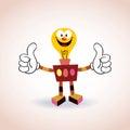 Light bulb robot mascot cartoon character thumbs up Royalty Free Stock Photo