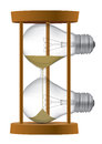 Light bulb sand clock timer symbolizing the end of incandescent or time for idea vector illustration Royalty Free Stock Photos