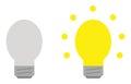 Light bulb set. Grey and yellow.