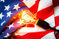Light bulb on USA flag Royalty Free Stock Photo