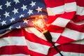 Light bulb on USA flag on white background Royalty Free Stock Photo