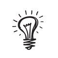 Light bulb - vector icon illustration in sketch draw design style. Lamp minimal symbol. Creative idea concept sin Royalty Free Stock Photo