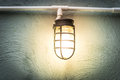 Light bulb on the wall with night scene idea Royalty Free Stock Photo