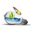 Light bulb with water wave Royalty Free Stock Photo
