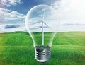 Light bulb with wind turbine inside Royalty Free Stock Photo