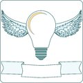 Light Bulb with Wings and Banner stock vector