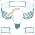 Light Bulb with Wings and Banners, Vector