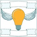 Light Bulb with Wings and Banners