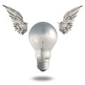 Light bulb and wings good idea Stock Photography