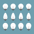 Light bulbs and bulb icon set Royalty Free Stock Photos