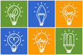 Light bulbs. Bulb icon set. Creative light bulb. Collection of design elements. Royalty Free Stock Photo