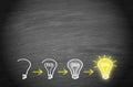 Light bulbs on chalkboard background - big idea and creativity concept