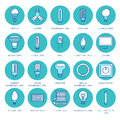 Light bulbs colored flat line icons. Led lamps types, fluorescent, filament, halogen, diode and other illumination. Thin