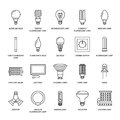 Light bulbs flat line icons. Led lamps types, fluorescent, filament, halogen, diode and other illumination. Thin linear Royalty Free Stock Photo