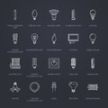 Light bulbs flat line icons. Led lamps types, fluorescent, filament, halogen, diode and other illumination. Thin linear