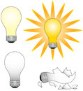 Light bulbs four with different appearances Royalty Free Stock Photos