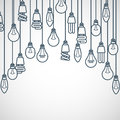 Light bulbs hanging on cords semicircle lamp frame Stock Photos