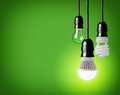 Light bulbs hanging tungsten bulb energy saving and led bulb Stock Image