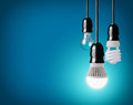 Light bulbs hanging tungsten bulb energy saving and led bulb Stock Images