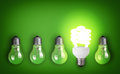 Light bulbs idea concept with row of Royalty Free Stock Image