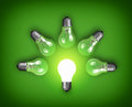 Light bulbs idea concept with row of and glowing bulb Stock Image