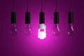 Light bulbs on magenta background Royalty Free Stock Photo