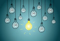 Light bulbs with single shining bulb eps illustration Royalty Free Stock Image