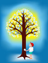 Light bulbs tree and a boy vector illustration Royalty Free Stock Photo