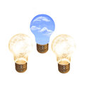 Light bulbs two and one eco bulb Royalty Free Stock Photos