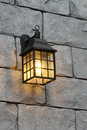 A light on the castle brick wall Royalty Free Stock Photo