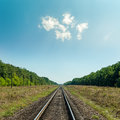 Light clouds in blue sky over railroad to horizon Royalty Free Stock Image