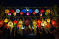 Light of colorful lamp in night thailand loy krathong festival has many in side the street Royalty Free Stock Photos