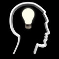 The light is on concept a bulb symbolizing intellectual innovation and inspiration turned in a human head Stock Images