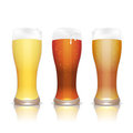 Light, dark and unfiltered beer in glasses Royalty Free Stock Photos