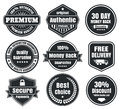 Light and dark vintage ecommerce badges nine scalable vector old school in colors percent authentic original premium free shipping Stock Photo
