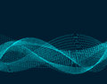 Light effects. Abstract discrete waves of blue neon color. Isolated on black background. illustration