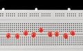 Light emitting diodes on breadboard Royalty Free Stock Image